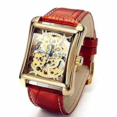 ALPS Men's Classic Skeleton Hand Wind Automatic Gold Watch with Brown Leather Band Relojes Mecánicos