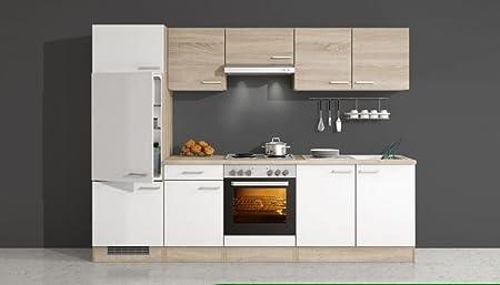 Kuchenzeile 270 cm Weiß Sonoma Eiche mit Geräten - Salerno