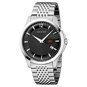 Gucci G-Timeless Collection Men's Quartz Watch with Black Dial Analogue Display and Stainless Steel Bracelet YA126309