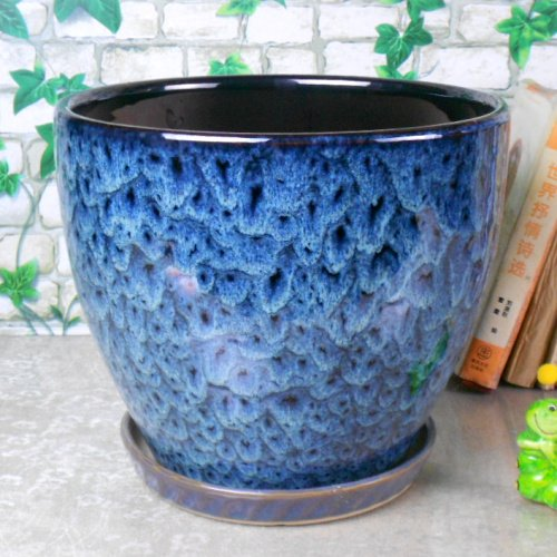 Ceramic Home/Garden Modern Fashion Large Flower Planter Pot with Saucer/Tray,Outside Peacock Pattern (Large Decorative Flower Pots compare prices)