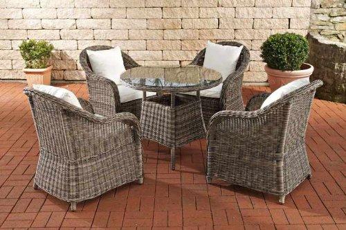 CLP Poly-Rattan Luxus Garten-Sitzgruppe FARSUND, grau-meliert, 5 mm Rund-Rattan (4 Stühle + Tisch rund Ø 90 cm) INKL. bequemen, 10 cm Sitzkissen grau meliert, Bezug Cremeweiß
