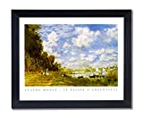 Claude Monet Paris Landscape Sailboat Contemporary Picture Black Framed Art Print