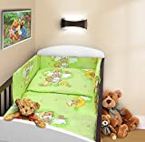 COT BUMPER 100 COTTON PADDED FOR BABY FIT COT 120x60 140x70 STRAIGHT 180cm to fit cot 120x60cm Teddy Ladder Green