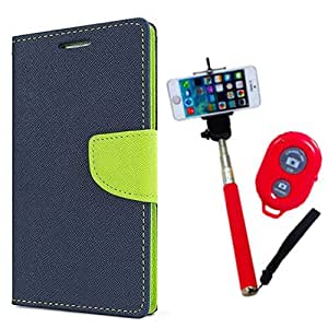 Aart Fancy Diary Card Wallet Flip Case Back Cover For HTC M9 Plus - (Blue) + Remote Aux Wired Fashionable Selfie Stick Compatible for all Mobiles Phones By Aart Store