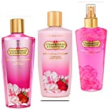 VICTORIA'S SECRET,STRAWBERRIES & CHAMPAGNE,GIFT SET,LOTION,BODY WASH,FRAGRANCE MIST