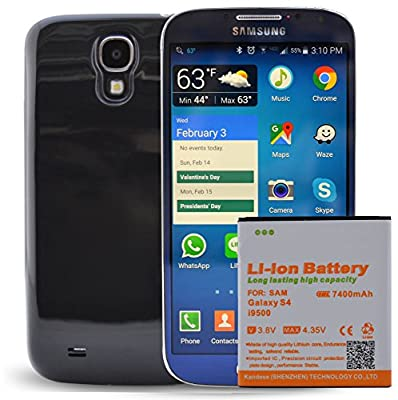 Samsung Galaxy S4 Extended Battery with 7400 mAH Battery Pack. Use it as cell phone battery replacement for your Samsung S4