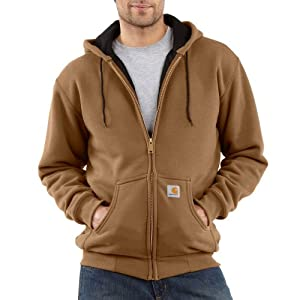Carhartt Men's Thermal Lined Hooded Zip Front Sweatshirt 149, Carhartt Brown, Medium