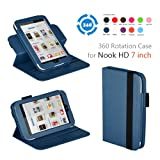 Exact 360 degree Rotary leather case for Nook HD 7 Tablet Dark Blue (Support Auto Sleep/Wake Function)