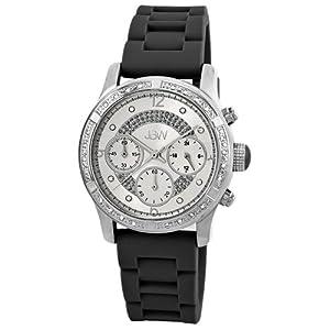 "JBW Women's JB-6243-B ""Venus"" Sport Silver Black Combo Designer Silicone Diamond Watch"