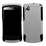 Samrick Twin Fuzion Protection Mesh Hard Cover Armour Shell Case and Soft Hydro Silicone Protective Case for Samsung S8530 Wave II - Silver