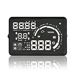 OEM Car Head Up Display - OBD II Universal, 5.5 Inch LED Display, Plug-and-Play, Over Speed Warning