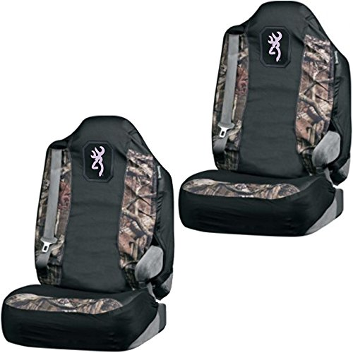 Browning Arms Company Buckmark Pink Logo Infinity Camo Car Truck SUV Universal-fit Pull Over Bucket Seat Covers - PAIR (Pink Camo Seat Covers Set For Suv compare prices)