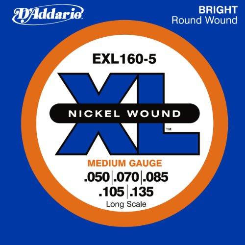dr strings discount d 39 addario exl160 5 5 string nickel wound bass guitar strings medium 50. Black Bedroom Furniture Sets. Home Design Ideas