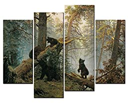 SmartWallArt - Animal Paintings Wall Art a Bear Family in the Forest Playing on a Fall Down Tree 4 Panel Picture Print on Canvas for Modern Home Decoration