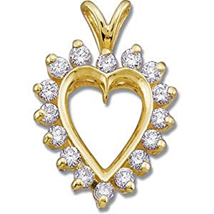 IceCarats Designer Jewelry 14K Yellow Gold 1/2 Ctw Diamond Heart Pendant