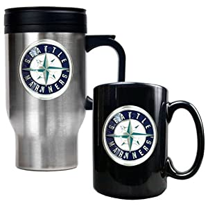 MLB Seattle Mariners Stainless Steel Travel Mug & Black Ceramic Mug Set - Primary... by Great American Products