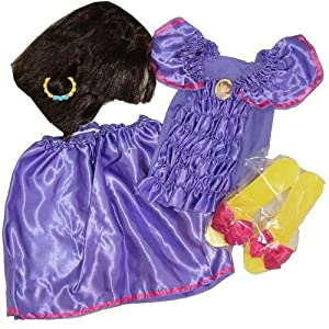 Dora The Explorer Girls Halloween Costume Set Wig, Shoes, Outfit, Bracelet