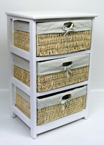 3 Drawer White Wood Storage Cabinet