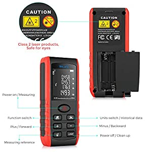 Digital Laser Distance Meter 131FT/ 40M,InLife Backlit LCD Laser Measure, Laser Measuring Device with Single-distance, Continuous, Area, VNT Angle, Volume Measurement and Pythagorean Modes (Tamaño: 40M)