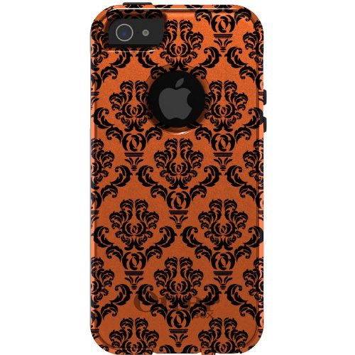 Best Price CUSTOM OtterBox Commuter Series Case for iPhone 5 5S - Damask Pattern (Orange & Black)