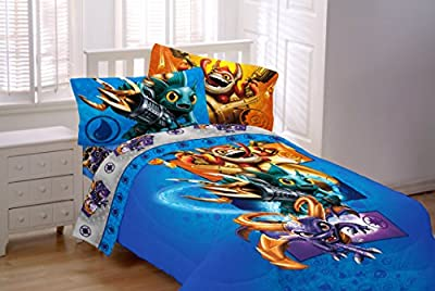 "7 Piece Skylanders Twin Bedding Set. Includes Twin Sheet Set, Twin Comforter, Skylanders Pillow, and two 63"" Drapes"