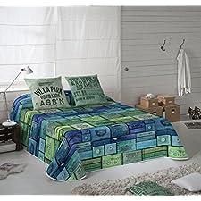 COTTON ART. Colcha Bouti Modelo WOOD BOX para cama de 105 ( 200 x 260 cm). Algodón 100%.Disponible para cama de 90,105,135 y 150.