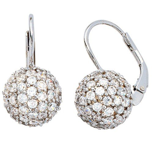 Silver 925 Earrings Pendant Earrings with Ball Zirconia Real White for Ladies