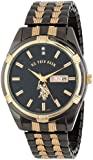 U.S. Polo Assn. Classic Men's USC80047 Gun-Metal Day-Date Black Dial Dress Watch