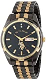U.S. Polo Assn. Classic Mens USC80047 Gun-Metal Day-Date Black Dial Dress Watch