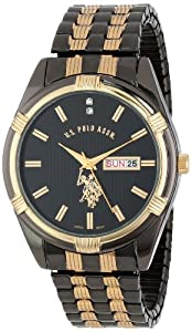 U.S. Polo Assn. Men's Gun-Metal Day-Date Dial Dress Watch Black USC80047