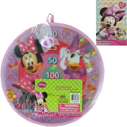 Disney Jr. Minnie Mouse Velcro Dart Game Holiday Gift Set for Kids - 1 11 in x 11 in Minnie Velrco Dart Game with Ball and 1 Sticker Pad with Over 200 Stickers - 1