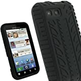 IGadgitz Black Silicone Skin Case Cover with Tyre Tread Design for Motorola Defy MB525 & Defy+ (Plus) Android Smartphone Mobile Phone + Screen Protector