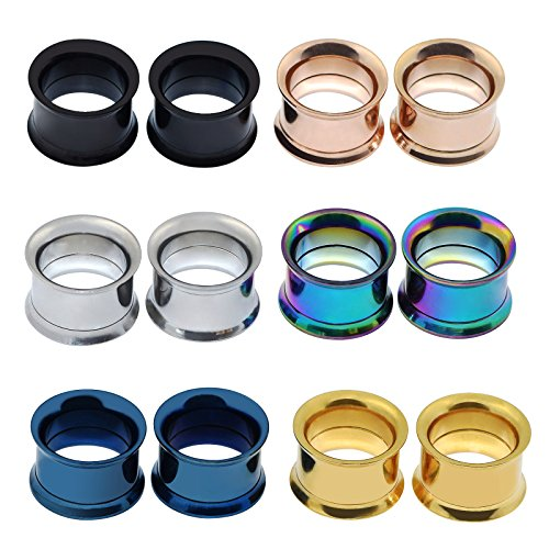 Longbeauty 6 Pair Stainless Steel Screwe Flesh Tunnel Expander Eer Plug Gauge Earlets 6 Colors 3MM (Size 8 Plugs compare prices)