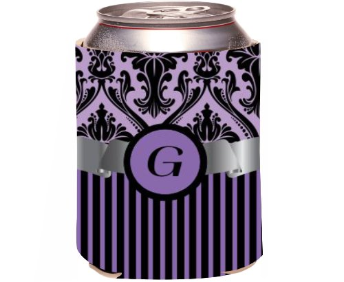 "Rikki Knight Beer Can Soda Drinks Cooler Koozie, Letter ""G"" Initial Monogrammed Design, Damask And Stripes, Purple front-643465"