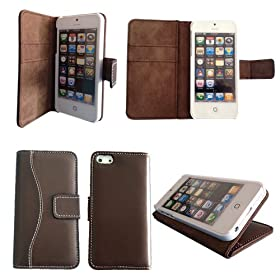 Bear Motion Luxury Genuine Top Lambskin Leather Case for iPhone 5 - Brown