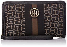 Tommy Hilfiger Signature Jacq Wristlet, Black/Pepper, One Size