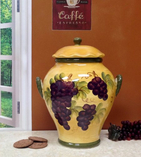 Cookie Jar Canister Tuscany Grape Wine Decor Ebay