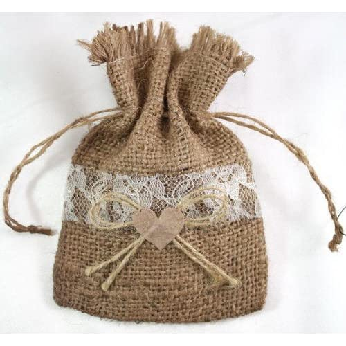 Package of 12 Rustic Natural Burlap Favor Drawstring Bags with Sweet Lace Trim