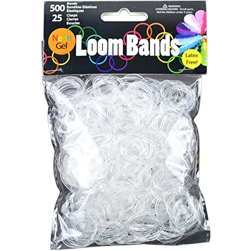 Gel Loom Bands Value Pack 500 Bands & 25 Clips/Pkg-White Gel