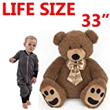 "33"" JUMBO LIFE SIZE GIANT RAYMOND TEDDY BEAR PLUSH SOFT TOY GIFT CUDDLY KIDS NEW"
