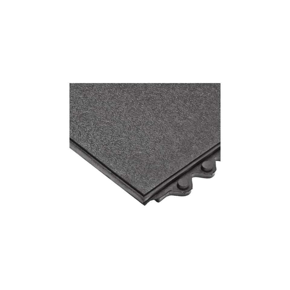 NoTrax 502 Heavy Duty Rubber Click Mat Solid Connecting Mat, 3 Length x 3 Width x 3/4 Thickness, Black