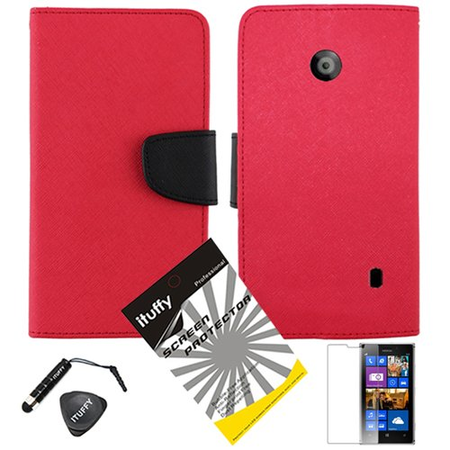 3 Items Combo: Ituffy (Tm) Lcd Screen Protector Film + Mini Stylus Pen + 2-Tone Leather Wallet & Id Card Case With Lanyard For Nokia Lumia 520 Window Phone (At&T, At&T Prepaid Gophone) (Red / Black)
