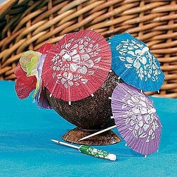 Paper Hibiscus Print Cocktail Parasols