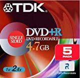 TDK DVD+R 4.7GB Write Speed 16X (5-Pack)