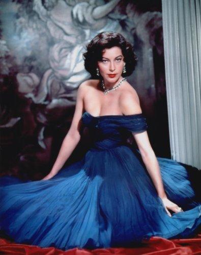 大きな写真、エヴァ・ガードナー、青ドレスの美しい視線