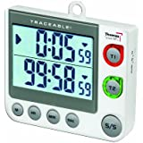 """Thomas 5017 Traceable Flashing LED Big-Digit Dual Channel Timer, 3"""" Width x 3.5"""" Height x 5/8"""" Thick"""