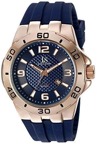 Joshua & Sons Reloj de hombre de cuarzo con Esfera Analógica Azul Pantalla y negro correa de silicona jx115rgbu