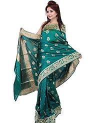 Exotic India Cadmium-Green Banarasi Sari With Large Woven Bootis - Cadmium Green