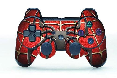 TQS™ Leather Texture Surface Designer Skin Sticker for Playstation 3 Remote Controller - Spider-Man