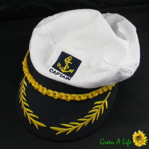 [White Adult Yacht Boat Ship Sailor Captain Costume Hat Cap Navy Marine Admiral] (Ship Captain Costumes)